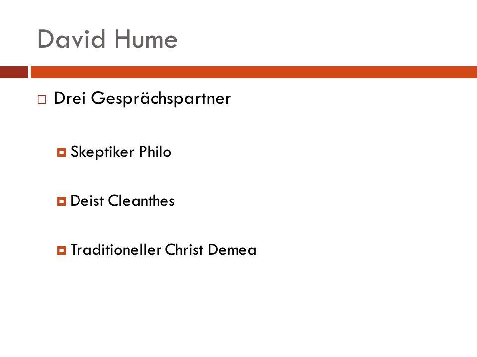 David Hume Drei Gesprächspartner Skeptiker Philo Deist Cleanthes