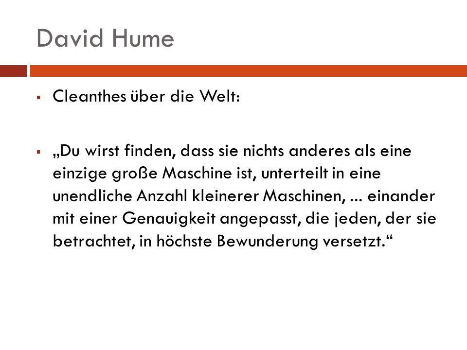 David Hume Cleanthes über die Welt: