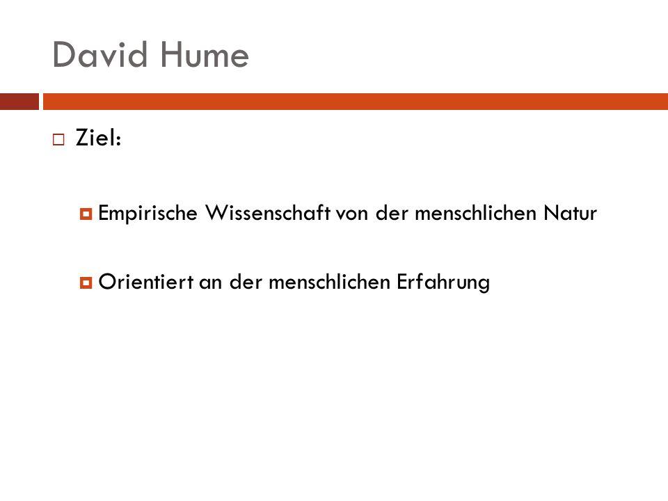 David Hume Ziel: Empirische Wissenschaft von der menschlichen Natur