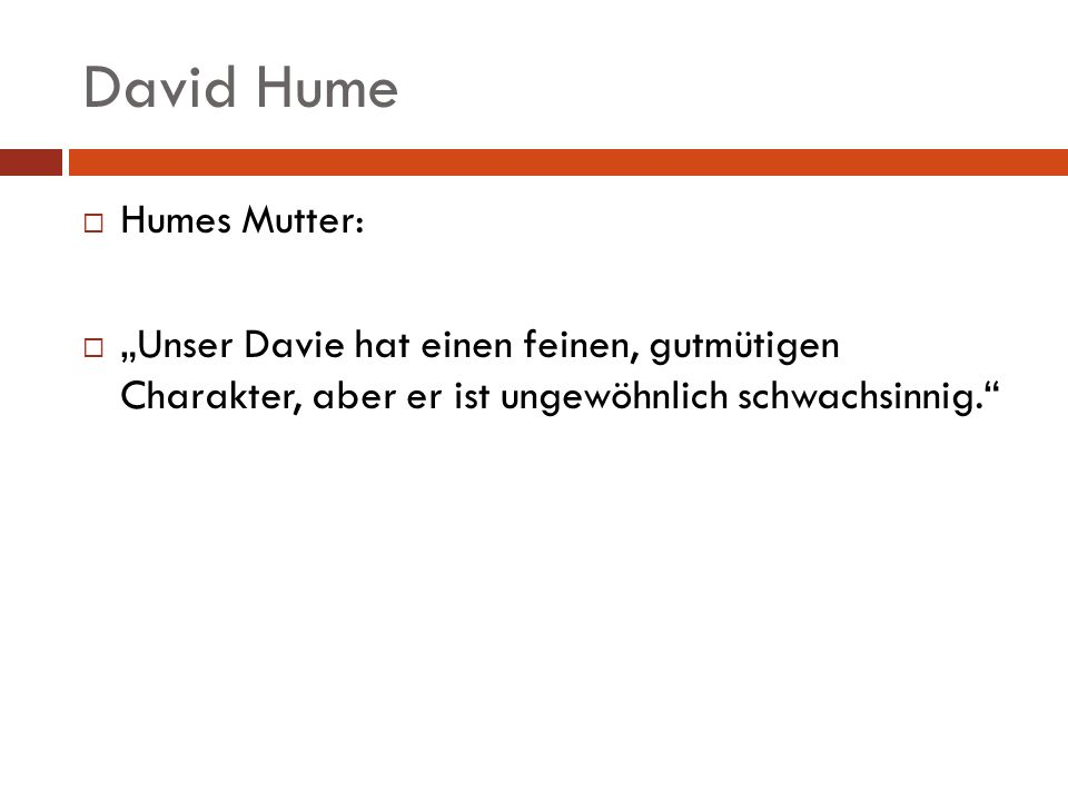 David Hume Humes Mutter: