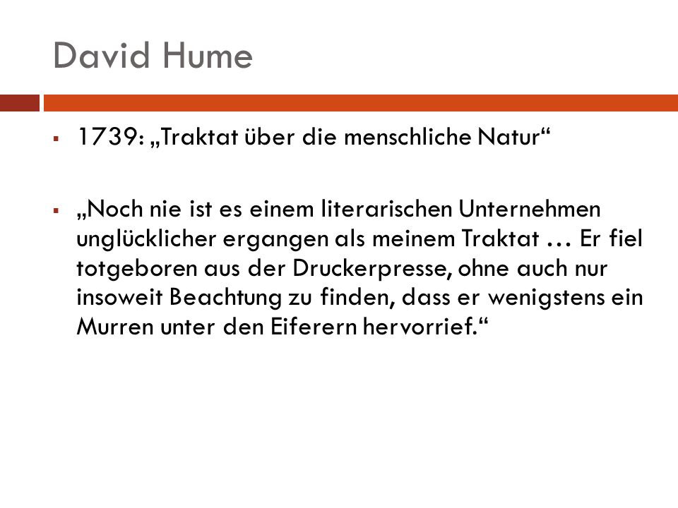 """David Hume 1739: """"Traktat über die menschliche Natur"""