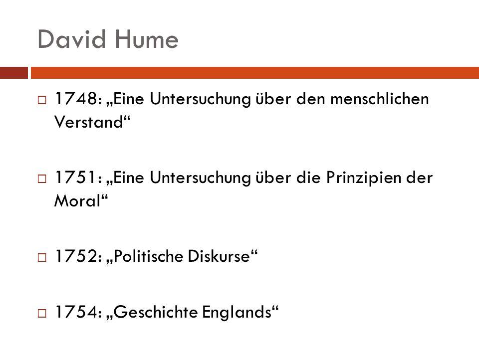 """David Hume 1748: """"Eine Untersuchung über den menschlichen Verstand"""