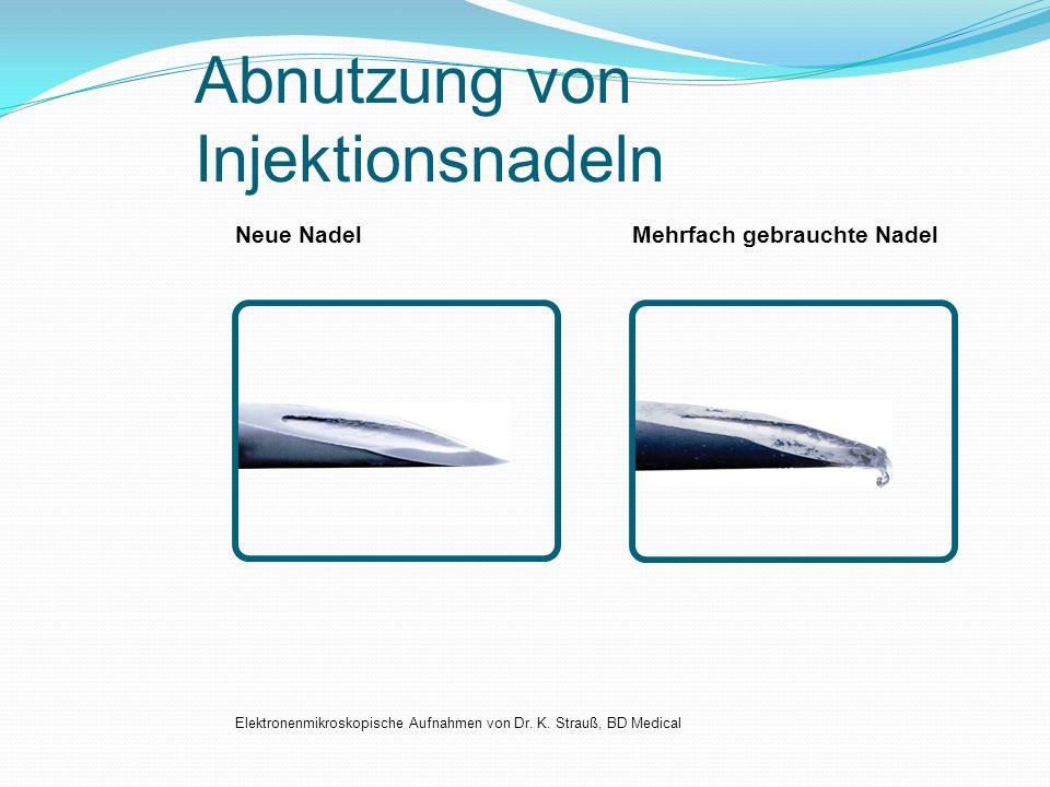 Abnutzung von Injektionsnadeln