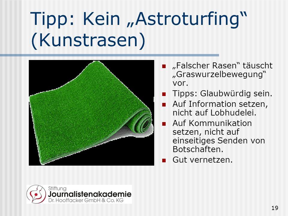 "Tipp: Kein ""Astroturfing (Kunstrasen)"