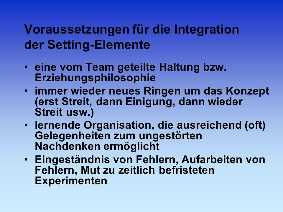Voraussetzungen für die Integration der Setting-Elemente