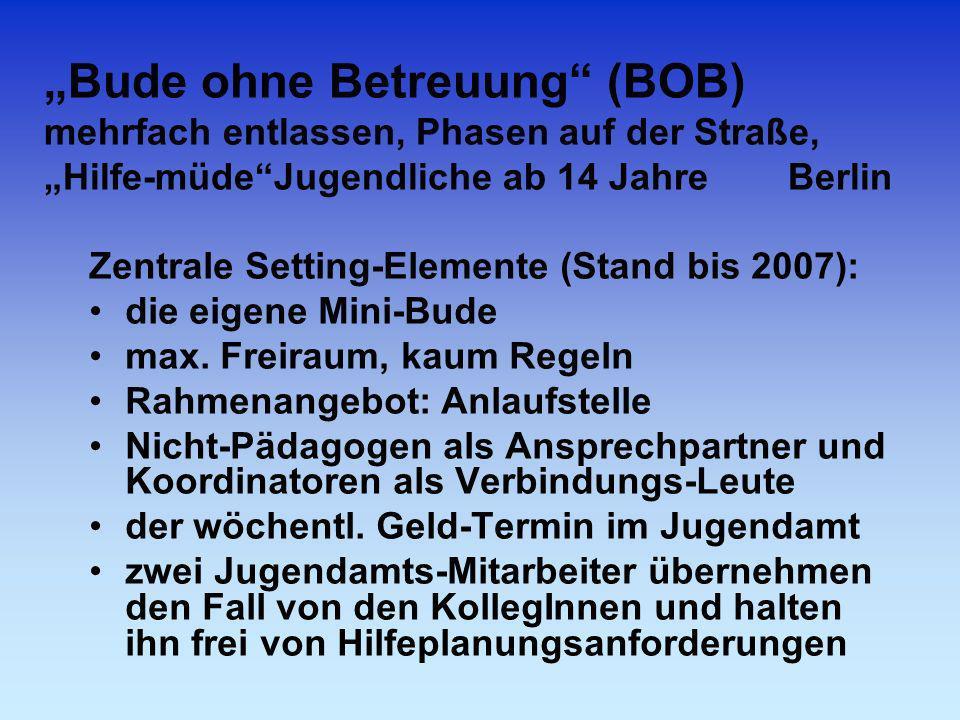 """""""Bude ohne Betreuung (BOB) mehrfach entlassen, Phasen auf der Straße, """"Hilfe-müde Jugendliche ab 14 Jahre Berlin"""