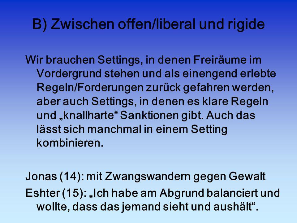B) Zwischen offen/liberal und rigide