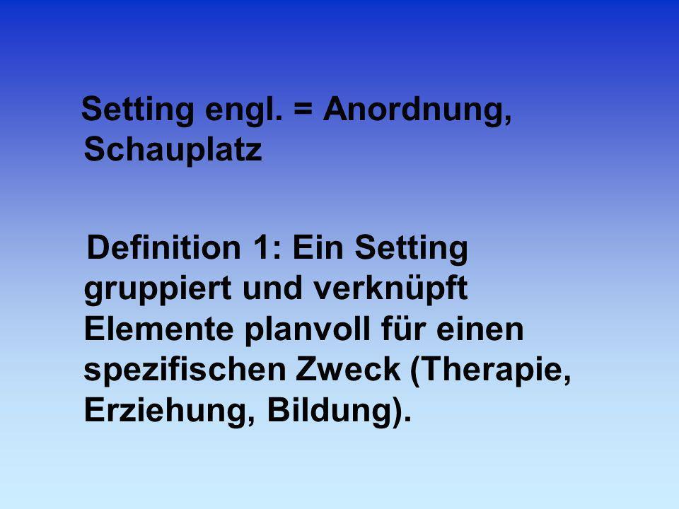 Setting engl. = Anordnung, Schauplatz