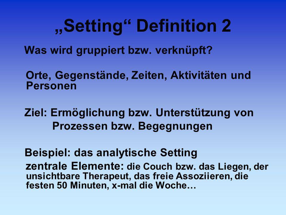 """""""Setting Definition 2 Ziel: Ermöglichung bzw. Unterstützung von"""