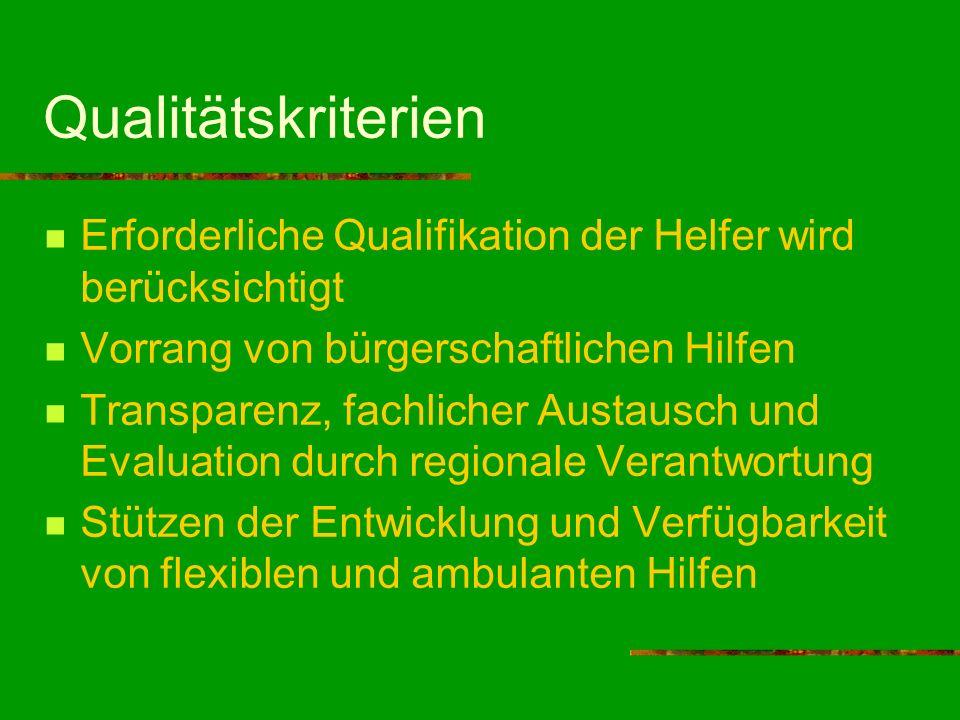 Qualitätskriterien Erforderliche Qualifikation der Helfer wird berücksichtigt. Vorrang von bürgerschaftlichen Hilfen.