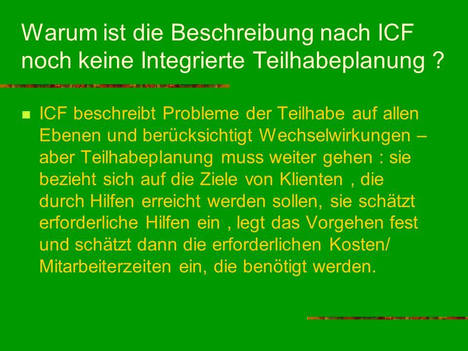 Warum ist die Beschreibung nach ICF noch keine Integrierte Teilhabeplanung