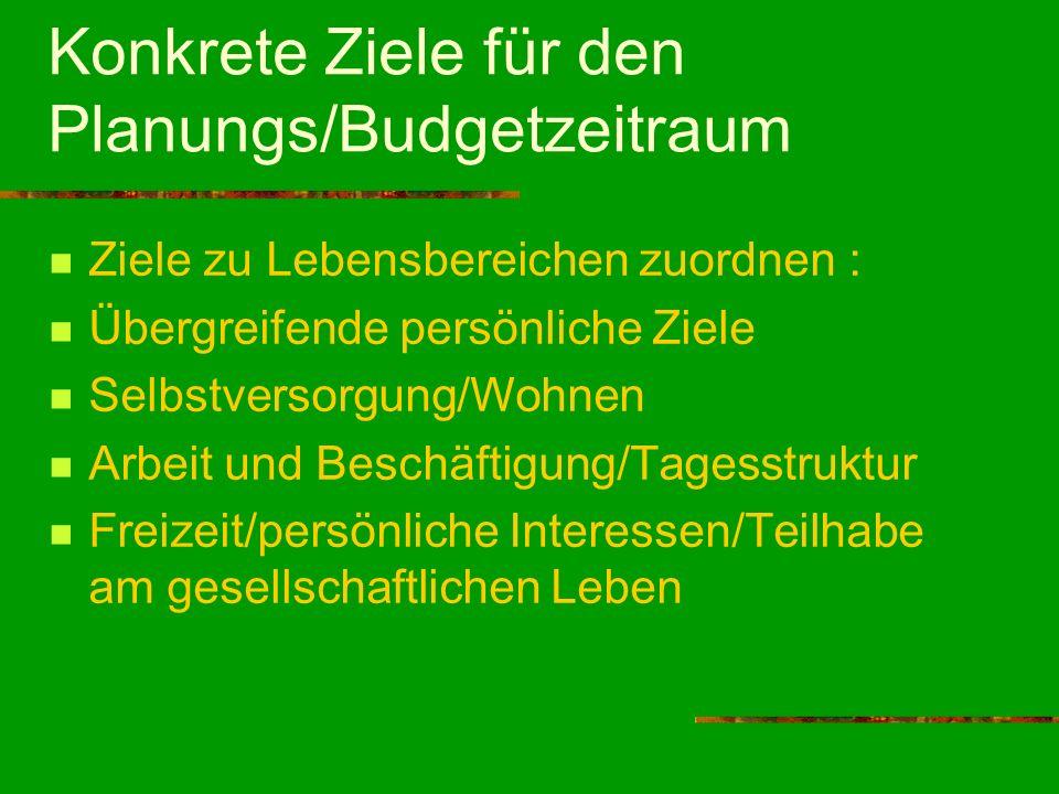 Konkrete Ziele für den Planungs/Budgetzeitraum