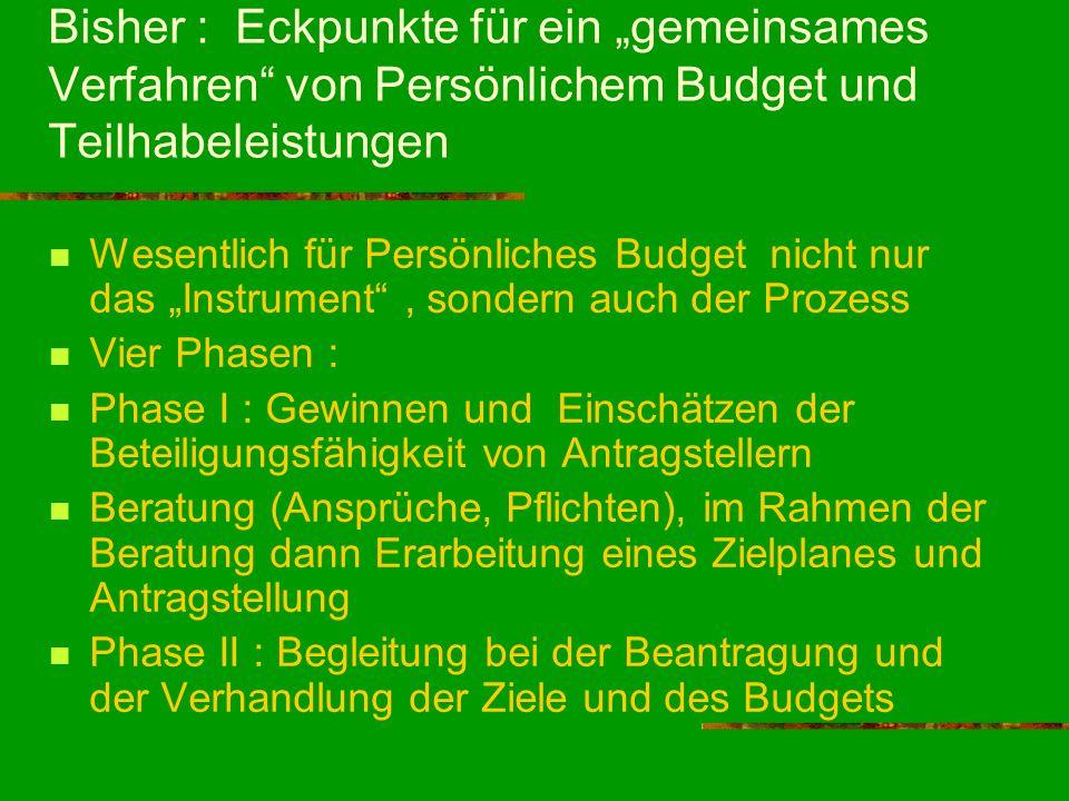 """Bisher : Eckpunkte für ein """"gemeinsames Verfahren von Persönlichem Budget und Teilhabeleistungen"""