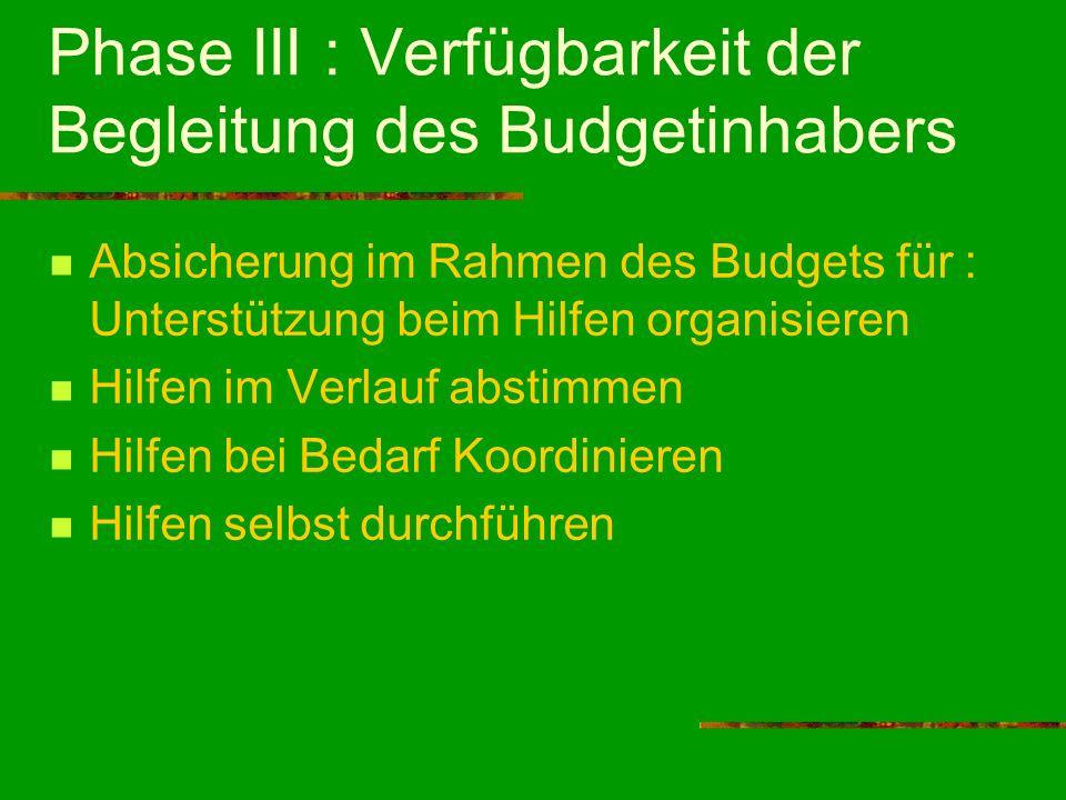 Phase III : Verfügbarkeit der Begleitung des Budgetinhabers