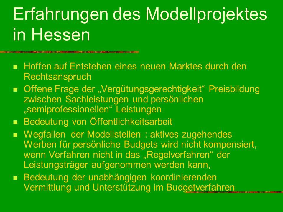 Erfahrungen des Modellprojektes in Hessen