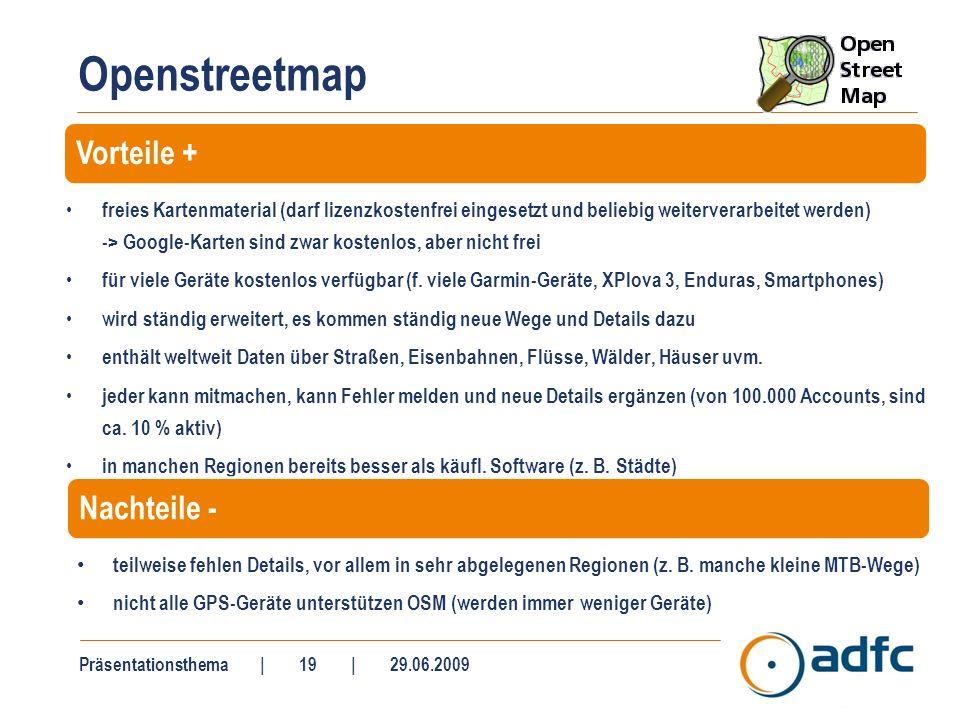 Openstreetmap Links: allgemeine Infos über Openstreetmap: