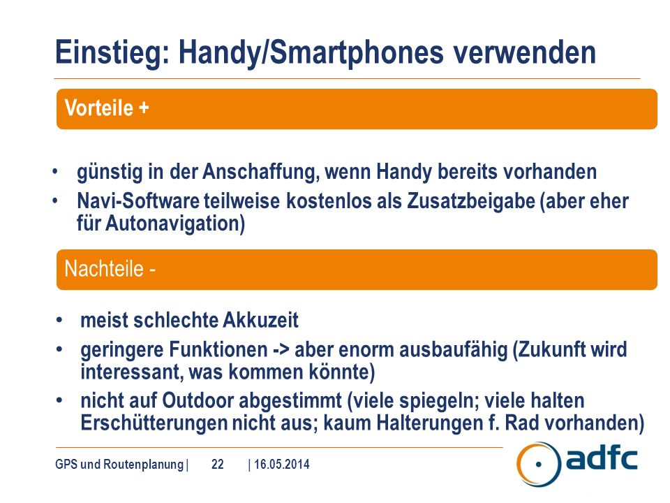 Smartphone-Navigation – iPhone und Android-Handy