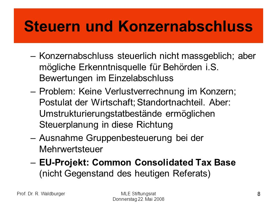 Steuern und Konzernabschluss