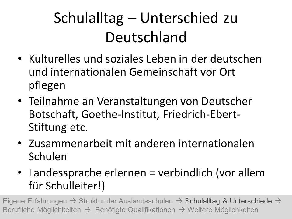 Schulalltag – Unterschied zu Deutschland