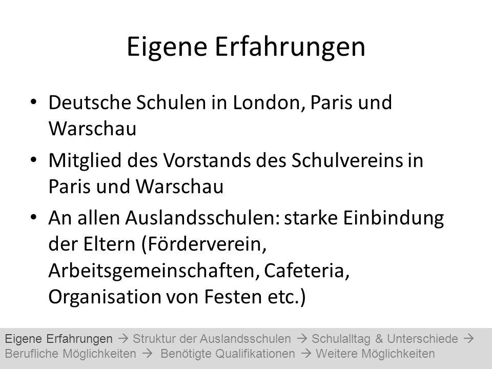 Eigene Erfahrungen Deutsche Schulen in London, Paris und Warschau