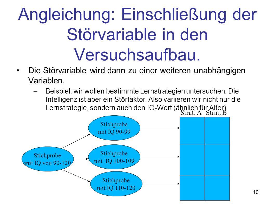 Angleichung: Einschließung der Störvariable in den Versuchsaufbau.