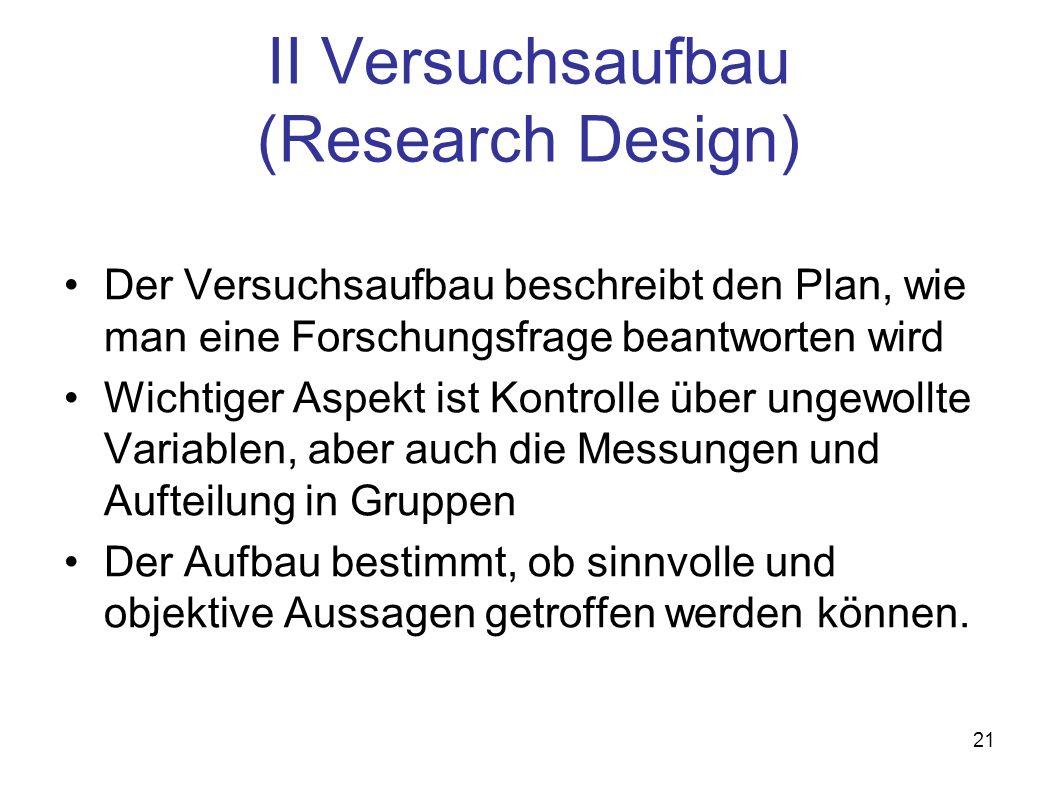II Versuchsaufbau (Research Design)