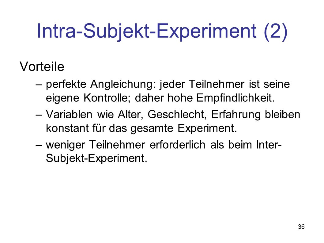 Intra-Subjekt-Experiment (2)