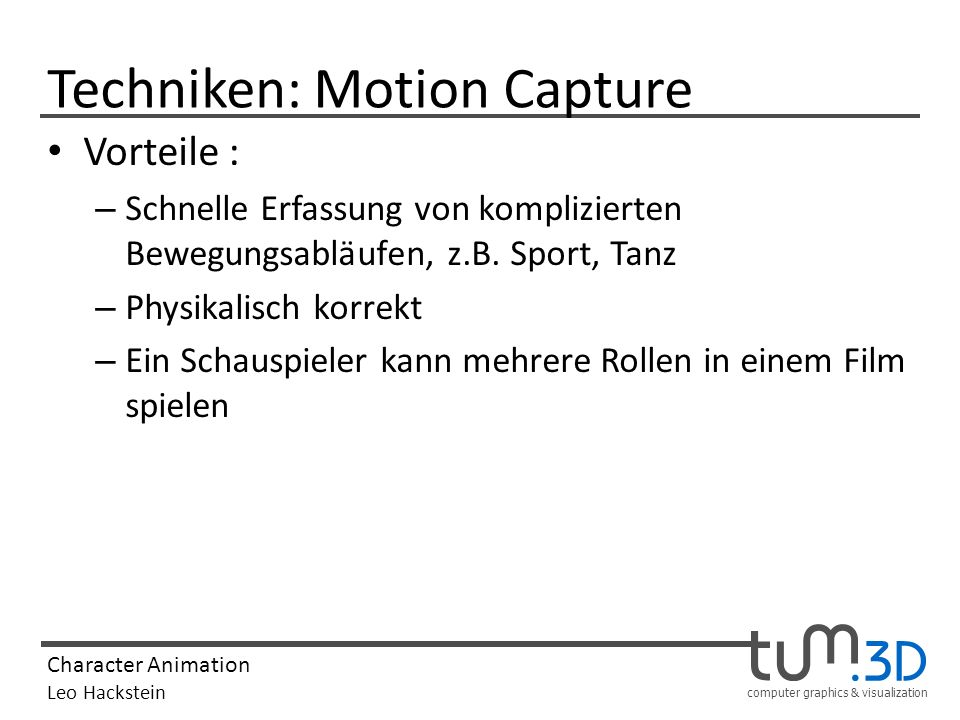 Techniken: Motion Capture