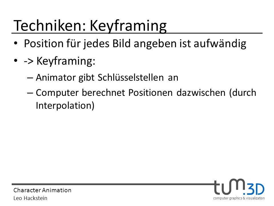 Techniken: Keyframing