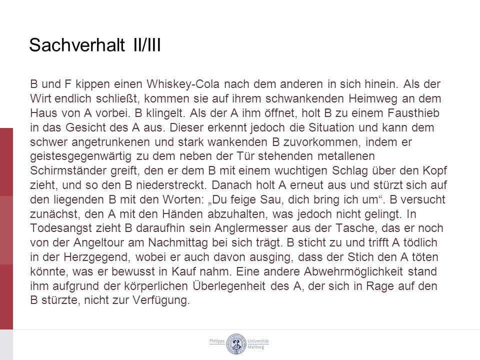 Sachverhalt II/III