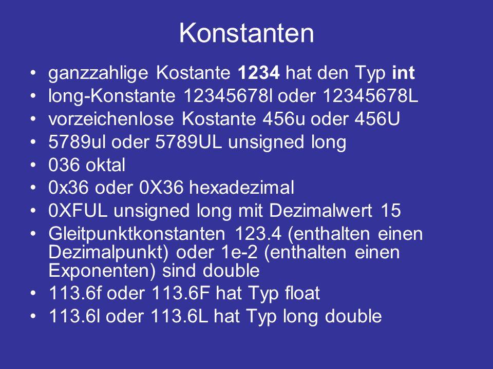 Konstanten ganzzahlige Kostante 1234 hat den Typ int