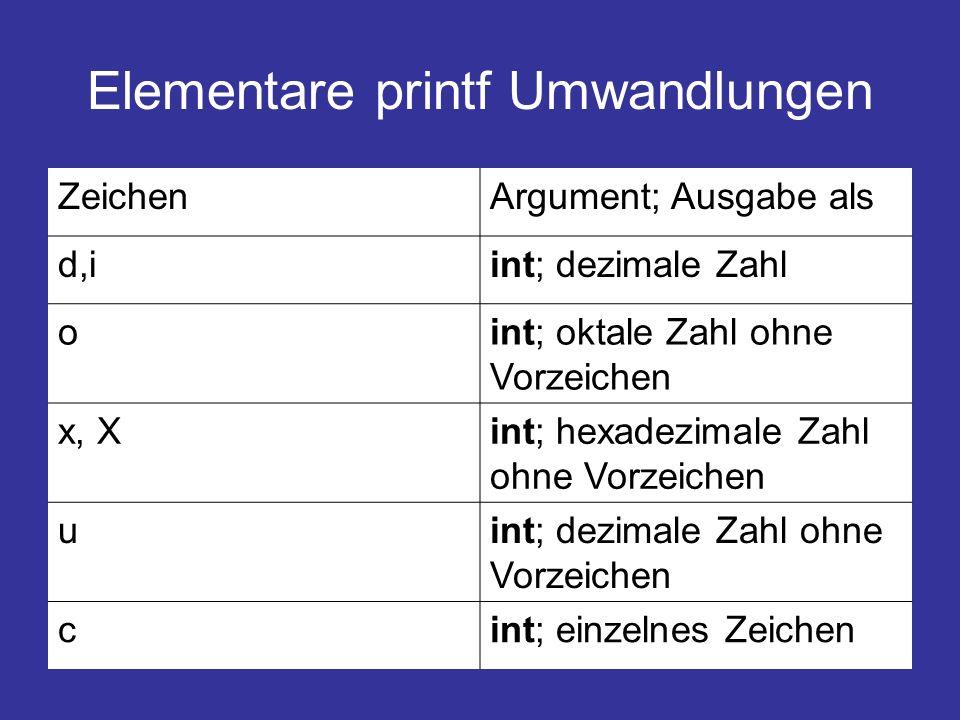 Elementare printf Umwandlungen