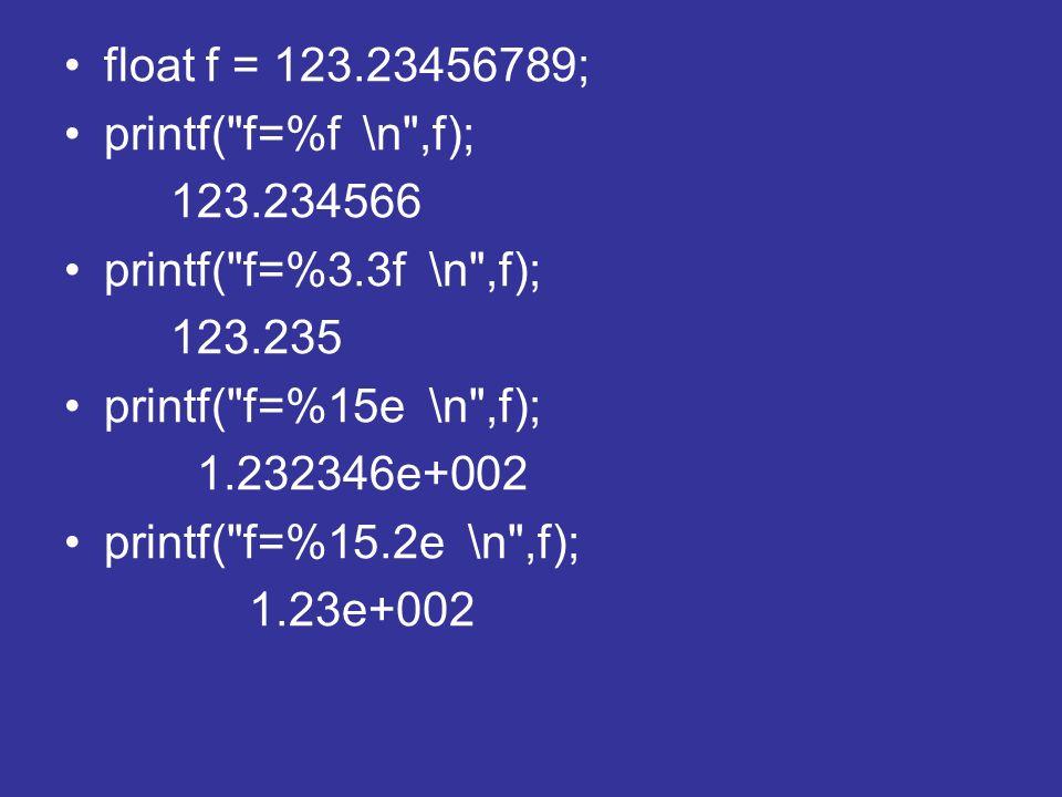 float f = 123.23456789; printf( f=%f \n ,f); 123.234566. printf( f=%3.3f \n ,f); 123.235. printf( f=%15e \n ,f);