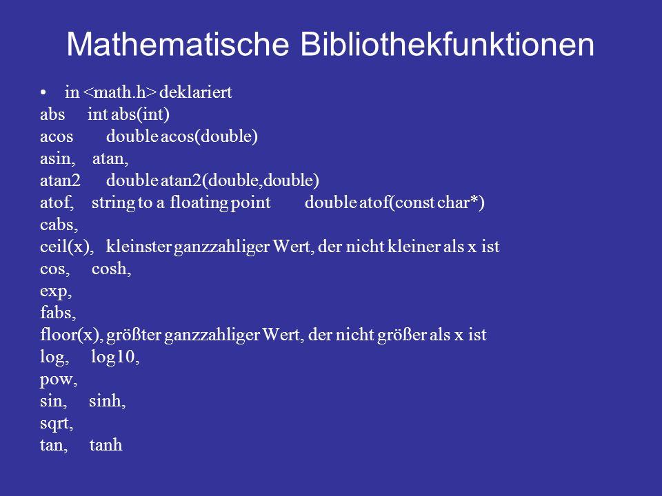 Mathematische Bibliothekfunktionen