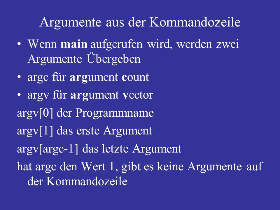 Argumente aus der Kommandozeile