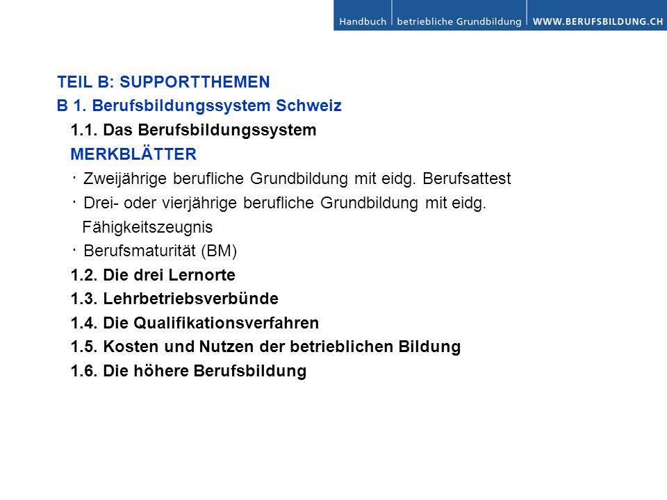 TEIL B: SUPPORTTHEMEN B 1. Berufsbildungssystem Schweiz. 1.1. Das Berufsbildungssystem. MERKBLÄTTER.