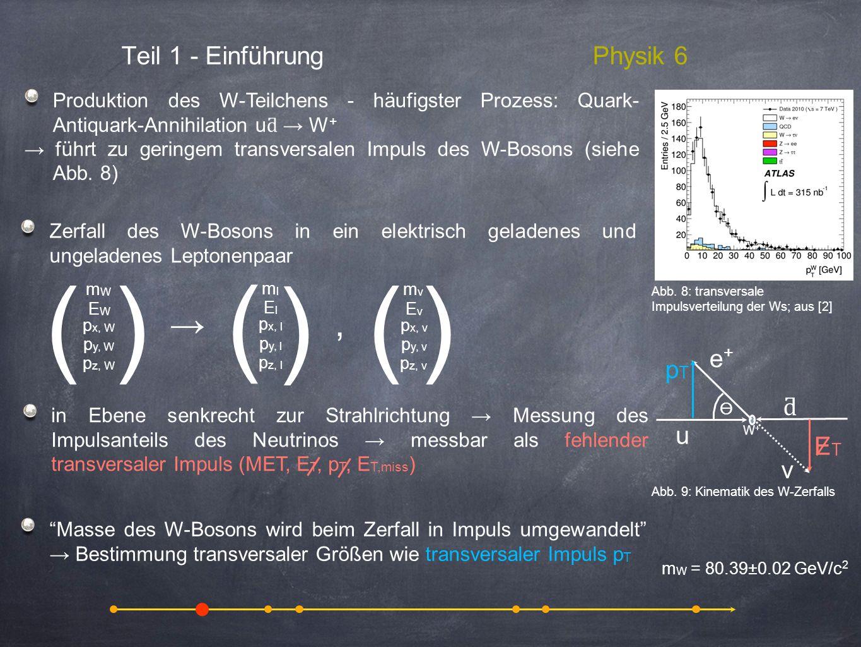 ( ) , → Teil 1 - Einführung Physik 6 u ƌ e+ ν ET pT