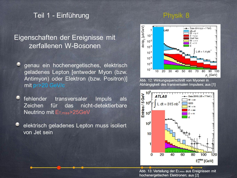 Eigenschaften der Ereignisse mit zerfallenen W-Bosonen