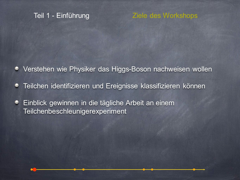 Teil 1 - Einführung Ziele des Workshops. Verstehen wie Physiker das Higgs-Boson nachweisen wollen.