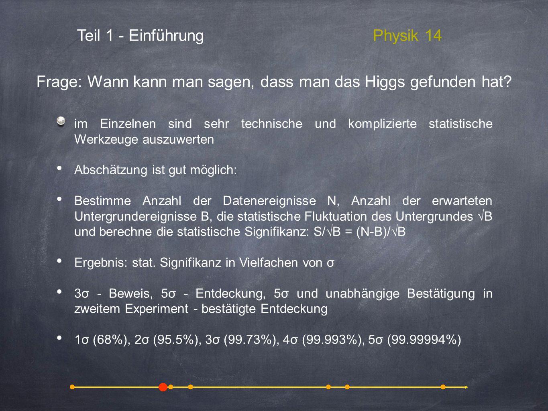 Frage: Wann kann man sagen, dass man das Higgs gefunden hat
