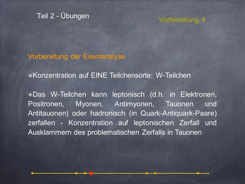 Teil 2 - Übungen Vorbereitung 4. Vorbereitung der Eventanalyse. Konzentration auf EINE Teilchensorte: W-Teilchen.