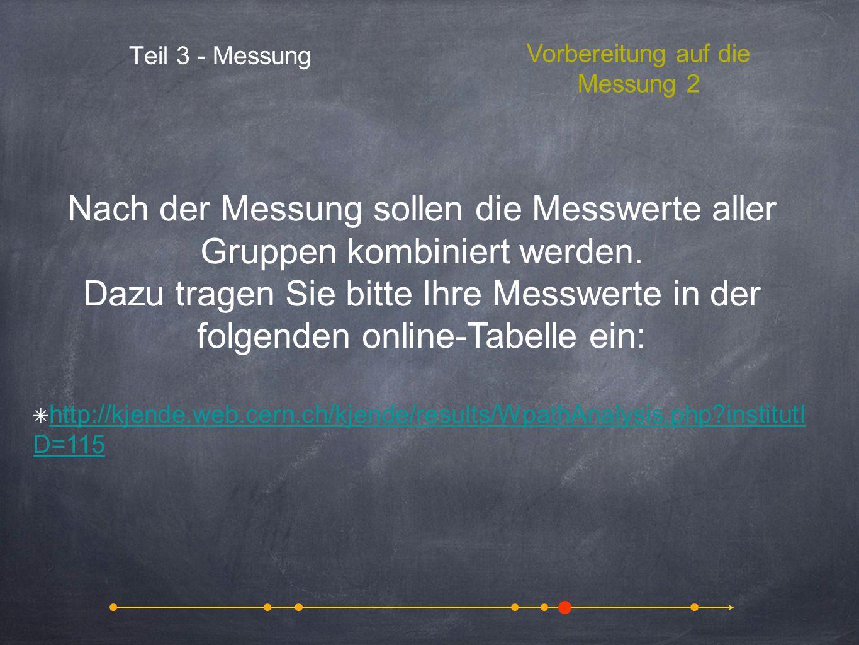Nach der Messung sollen die Messwerte aller Gruppen kombiniert werden.