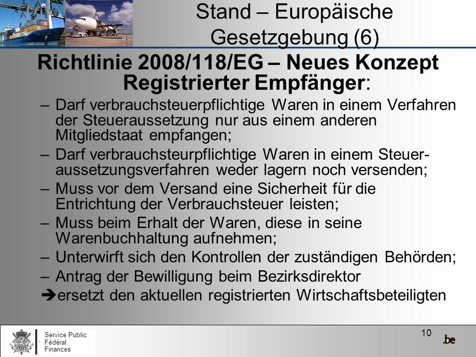 Stand – Europäische Gesetzgebung (6)