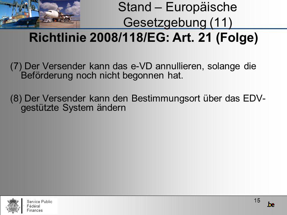 Stand – Europäische Gesetzgebung (11)