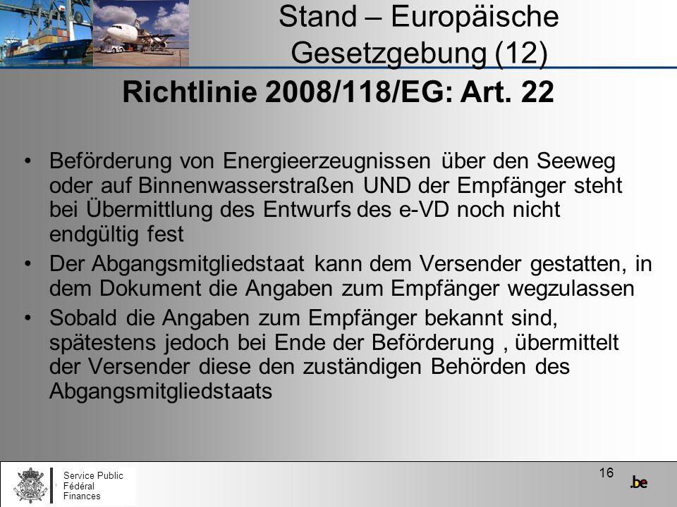 Stand – Europäische Gesetzgebung (12)