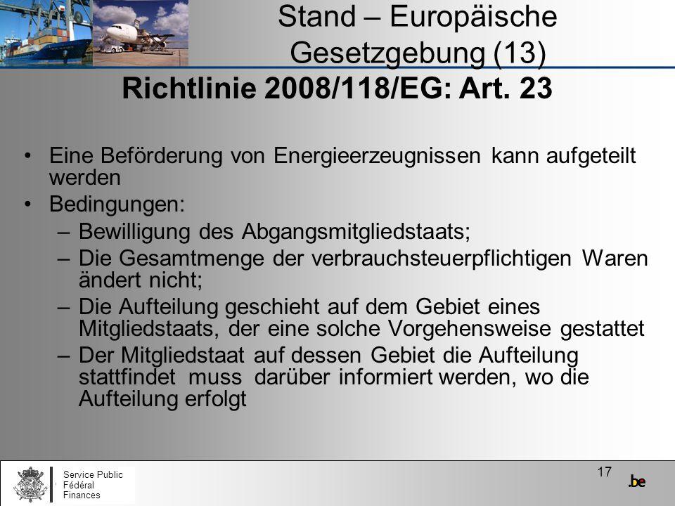 Stand – Europäische Gesetzgebung (13)