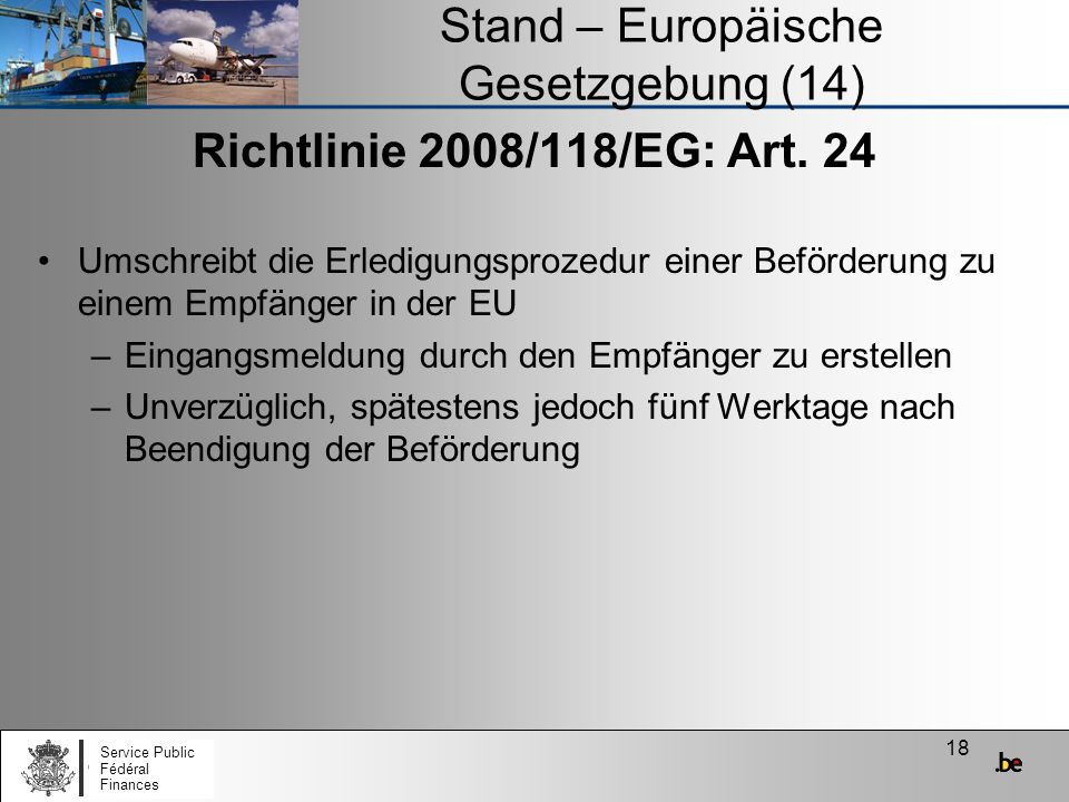 Stand – Europäische Gesetzgebung (14)