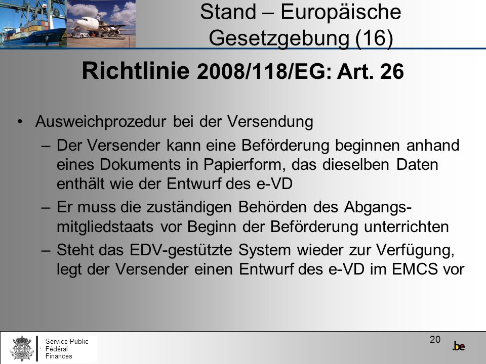 Stand – Europäische Gesetzgebung (16)