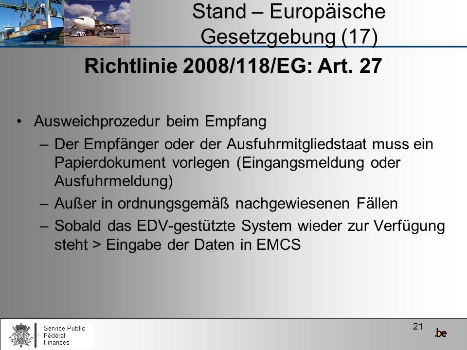 Stand – Europäische Gesetzgebung (17)