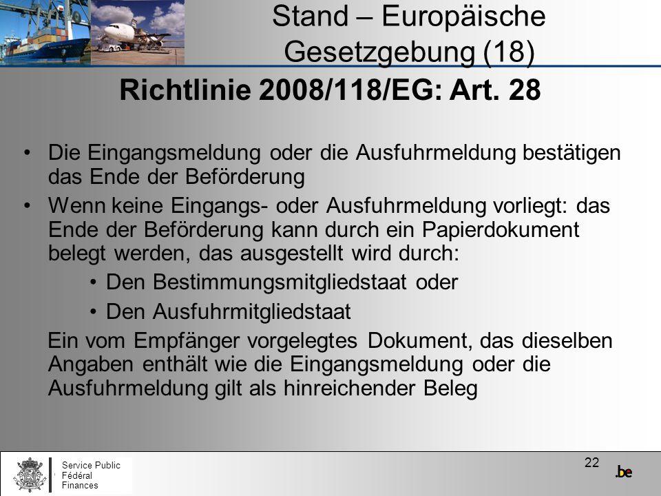 Stand – Europäische Gesetzgebung (18)